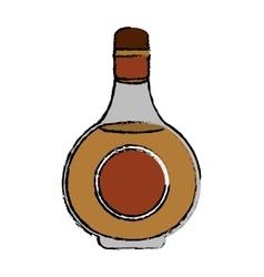 drawing cognac bottle alcochol drink style vector image vector image