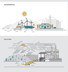 flat line color concept- environmental and vector image vector image