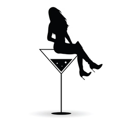 girl silhouette with martini black vector image