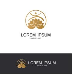 round flower lotus gold logo vector image