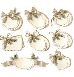 Set of beautiful golden Christmas gift cards with vector image vector image