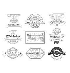 Best Wood Workshop Set Of Black And White Emblems vector image