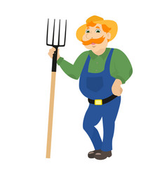 cartoon farmer standing with pitchforks vector image vector image
