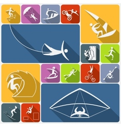 Extreme sports icons flat vector image vector image