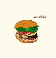 a burger drawing vector image vector image