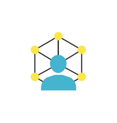 community network flat icon vector image