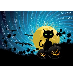 Halloween party background with cat vector image vector image