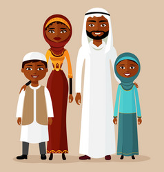 happy arab family in national clothes vector image vector image