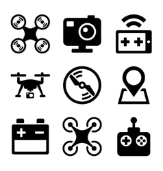 Quadcopter and Drone Icons Set on white background vector image