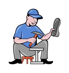 shoemaker cobbler shoe repair working vector image