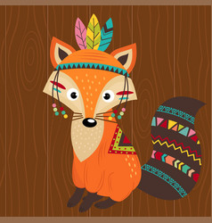 tribal fox on wooden background vector image