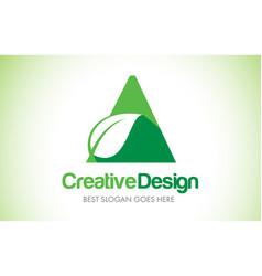 a green leaf letter design logo eco bio leaf vector image