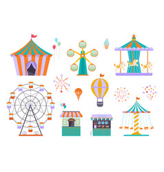 Amusement park different funny attractions vector