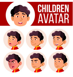 asian boy avatar set kid kindergarten vector image