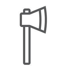 Axe line icon tool and equipment hatchet sign vector