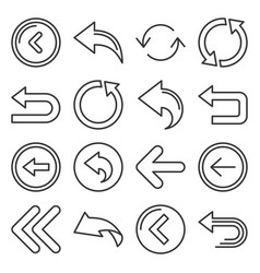 back arrow icons set on white background line vector image