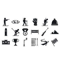 biathlon icons set simple style vector image