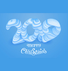 blue paper cut merry christmas 2019 vector image