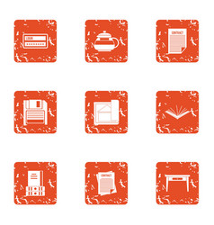 Book life icons set grunge style vector