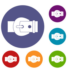 buckle icons set vector image