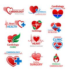 Cardiology medicine clinic heart icons vector