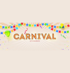 carnival card volumetric retro font with light vector image