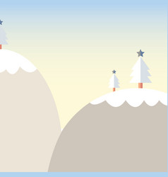 cartoon christmas tree on mountain with snow vector image