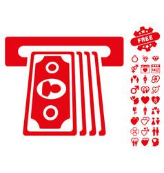 Cashpoint terminal icon with valentine bonus vector