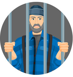 Caucasian unshaven man behind bars in round button vector