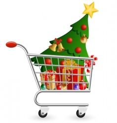 Christmas shopping cart vector image