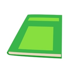 Closed green book icon cartoon style vector