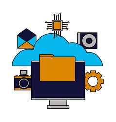 cloud computing monitor file vector image