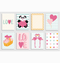 collection of valentine day cards greeting day vector image