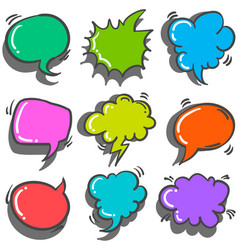 Collection text balloon style colorful vector