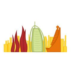 colored cityscape of dubai vector image