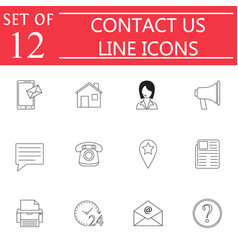 contact us line icon set web communication signs vector image