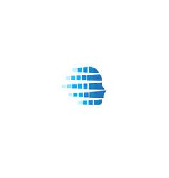 creative head data digital logo vector image