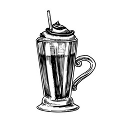 Cup coffee in vintage style mocha in a glass vector