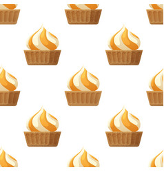 Cupcake with cream flat seamless pattern vector