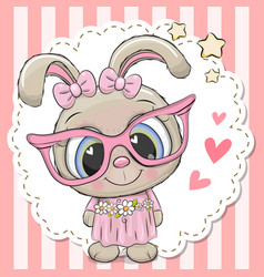 Cute rabbit girl in pink eyeglasses vector