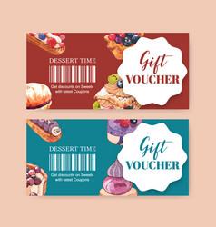 Dessert voucher design with pastry cream puff vector