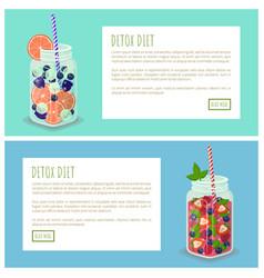 Detox diet internet pages set vector