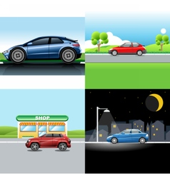 Digital red and blue auto car icon set vector image