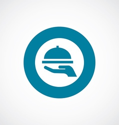Dish icon bold blue circle border vector