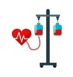 Donation transfusion tools with heartbeat symbol vector