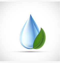 Drop water with a green leaf eco concept vector