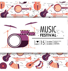 Drums and instruments to music festival event vector