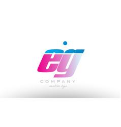 Eg e g alphabet letter combination pink blue bold vector