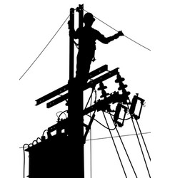 Electricity utility worker silhouette vector