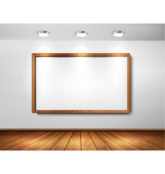 Empty wooden frame on a wall with spotlights and vector